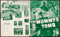 """Movie Posters:Horror, The Mummy's Tomb (Universal, 1942). Fine/Very Fine. Pressbook (4 Pages, 11.5"""" X 14""""). Horror.. ..."""