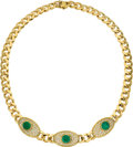 Estate Jewelry:Necklaces, Emerald, Diamond, Gold Necklace, Carvin French. ...