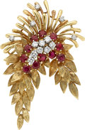 Estate Jewelry:Brooches - Pins, Diamond, Ruby, Platinum, Gold Brooch. ...