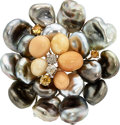 Estate Jewelry:Brooches - Pins, Melo Pearl, Freshwater Cultured Pearl, Diamond, Colored Diamond, Clip-Gold Brooch. ...