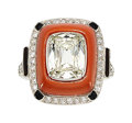 Estate Jewelry:Rings, Diamond, Coral, Black Onyx, Platinum Ring. ...