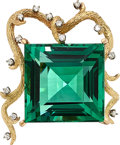 Estate Jewelry:Brooches - Pins, Green Tourmaline, Diamond, Gold Pendant-Brooch . ...