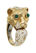 Estate Jewelry:Rings, Emerald, Enamel, Gold Ring, David Webb. ...