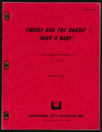 """Smokey and the Bandit II (Universal, 1980). Final Draft Script (102 Pages, 8"""" X 11""""). Action"""