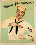 "Movie Posters:War, Navy Posters (U.S. Navy, 1930s). Rolled, Very Good+. RecruitTraining Command Posters (2) (22.5"" X 28.5"") ""I'm Proud of This...(Total: 2 Items)"