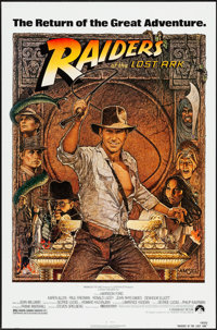 """Raiders of the Lost Ark (Paramount, R-1982). One Sheet (27"""" X 41""""). Artwork by Richard Amsel. Adventure"""