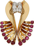 Estate Jewelry:Brooches - Pins, Retro Diamond, Ruby, Platinum, Gold Clip-Brooch, French. ...