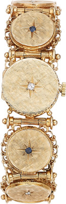 Swiss Lady's Diamond, Sapphire, Gold Covered Dial Watch