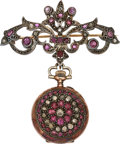 Estate Jewelry:Watches, Antique Swiss Lady's Diamond, Ruby, Silver-Topped Gold Lapel Watch. ...