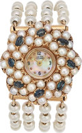 Estate Jewelry:Watches, Lucien Piccard Lady's Sapphire, Cultured Pearl, Gold Watch. ...