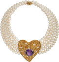 Estate Jewelry:Necklaces, Amethyst, Citrine, Freshwater Cultured Pearl, Gold Necklace. ...