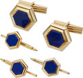 Estate Jewelry:Cufflinks, Lapis Lazuli, Gold Dress Set. ... (Total: 4 Items)