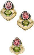 Estate Jewelry:Suites, Pink Tourmaline, Peridot, Gold, Steel Jewelry Suite, Vasari. ...(Total: 2 Items)