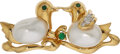 Estate Jewelry:Brooches - Pins, Cultured Pearl, Diamond, Emerald, Gold Brooch. ...