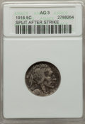 Errors, 1916 5C Buffalo Nickel -- Split After Strike (Obverse) -- AG3 ANACS. This lot will also include a: No Date 5C Type Tw... (Total: 2 coins)