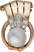 Estate Jewelry:Brooches - Pins, Retro Moonstone, Diamond, Gold Brooch, Marcus & Co. . ...