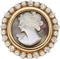 Estate Jewelry:Brooches - Pins, Diamond, Seed Pearl, Mother-of-Pearl, Gold Brooch. ...