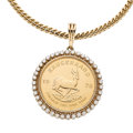 Estate Jewelry:Pendants and Lockets, Diamond, Gold Coin, Gold Pendant-Necklace. ...