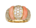 Estate Jewelry:Rings, Diamond, Coral, Gold Ring. ...