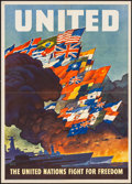 "Movie Posters:War, World War II Propaganda (U.S. Government Printing Office, 1943). OWI Poster No. 79 (20"" X 28"") ""The United Nations Fight for..."