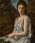Paintings, Georges Bellenger (French, 1847-1915). Girl with Rose. Oil on canvas. 31-1/2 x 25-1/2 inches (80.0 x 64.8 cm). Signed lo...