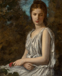 Georges Bellenger (French, 1847-1915) Girl with Rose Oil on canvas 31-1/2 x 25-1/2 inches (80.0 x
