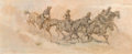 Fine Art - Painting, American, Kenneth Pauling Riley (American, b. 1919). Forty Miles aDay. Pencil and oil on Masonite. 10 x 24 inches (25.4 x 61.0cm...