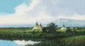 Paintings, John Paul Strain (American, b. 1955). Morning After the Rain. Gouache on board. 5 x 8-3/4 inches (12.7 x 22.2 cm). Signe...