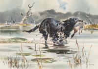 John P. Cowan (American, 1920-2008) Duck Hunting Watercolor on paper 16-1/4 x 23 inches (41.3 x 5
