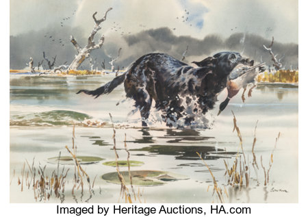 John P. Cowan (American, 1920-2008)Duck HuntingWatercolor on paper16-1/4 x 23 inches (41.3 x 58.4 cm)Signed lowe...