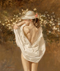 Paintings, William Whitaker (American, b. 1943). Straw Hat Pink Ribbon, 1988. Oil on panel. 13 x 11 inches (33.0 x 27.9 cm). Signed...