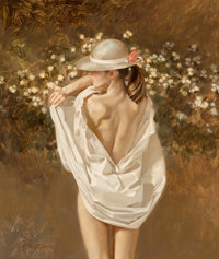 William Whitaker (American, b. 1943) Straw Hat Pink Ribbon, 1988 Oil on panel 13 x 11 inches (33