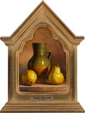 Paintings, Loran Speck (American, 1943-2011). Pears and Jars. Oil on Masonite. 13 x 9 inches (33.0 x 22.9 cm). Signed lower left: ...