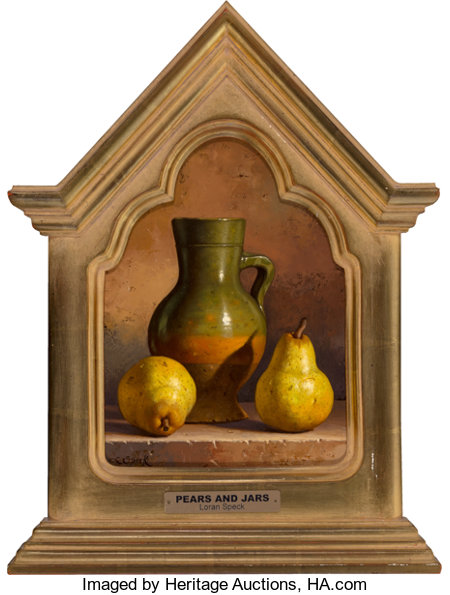 Loran Speck (American, 1943-2011) Pears and Jars Oil on Masonite 13 x 9 inches (33.0 x 22.9 cm) Signed lower left: ...