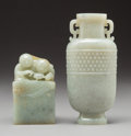 Other, A Chinese Carved Jade Vase and Seal. Marks: (various). 4-1/2 inches (11.4 cm) (tallest). ... (Total: 2 Items)