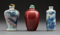 Ceramics & Porcelain, Three Chinese Porcelain Snuff Bottles. Marks: (various). 3 inches (7.6 cm) (tallest). ... (Total: 3 Items)