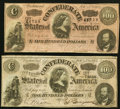 Confederate Notes:1864 Issues, T65 $100 1864 PF-1 Cr. 490 and PF-2 Cr. 493.. ... (Total: 2 notes)