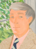 Paintings, Alex Katz (b. 1927). John Updike, 1982. Oil on aluminum. 12-1/8 x 9-1/8 inches (30.8 x 23.2 cm). Signed, titled, and dat...