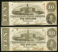 Confederate Notes:1863 Issues, T59 $10 1863 PF-6 Cr. 432 and PF-7 Cr. 433.. ... (Total: 2 notes)