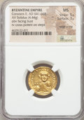 Ancients:Byzantine, Ancients: Constans II Pogonatus (AD 641-668). AV solidus (20mm,4.44 gm, 7h). NGC MS 5/5 - 3/5, edge crimp....