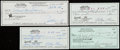Autographs:Checks, Football Greats Signed Check Lot of 4 with Hornung.... (Total: 4items)