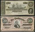 Confederate Notes:1864 Issues, T66 $50 1864;. T67 $20 1864.. ... (Total: 2 notes)