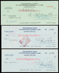 Autographs:Checks, 1969-74 Warren Giles & Chub Feeney Signed Check Lot of 3 - EachMade Out to a Hall of Famer.... (Total: 3 items)