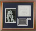 """Autographs:Letters, Joe DiMaggio Signed """"Babe Ruth Foundation"""" Letter Framed Display...."""