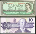Canadian Currency, BC-37dA $1 1954 Replacement Note *X/F Prefix. Very Fine;. BC-57aA$10 1989 Replacement Note ADX Prefix. Choice A...