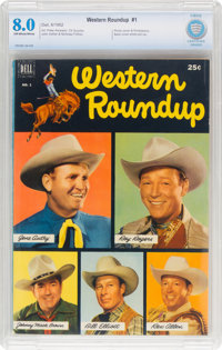 Dell Giant Comics: Western Roundup #1 (Dell, 1952) CBCS VF 8.0 Off-white to white pages
