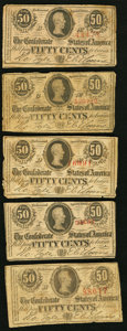 Confederate Notes:1863 Issues, T63 50 Cents 1863 Five Examples Very Good or Better.. ... (Total: 5notes)