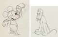 Animation Art:Production Drawing, Society Dog Show Mickey Mouse and Pluto Animation DrawingsGroup of 2 (Walt Disney, 1939). ... (Total: 2 Original Art)