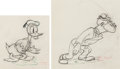 Animation Art:Production Drawing, Autograph Hound Donald Duck and Mick...