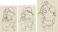 Animation Art:Production Drawing, Klondike Kid Minnie Mouse and Peg-Leg Pete Sequence Group of 3 Animation Drawings (Walt Disney, 1932). ... (Total: 3 Original Art)